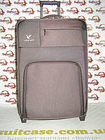 Большой тканевый чемодан на двух колесах,с металлическим каркасам,и плотной тканью Three birds коричневый 6095