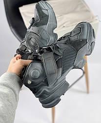Мужские кроссовки Reebok Vetements x Genetically Modified Pump black. Живое фото (Реплика ААА+)