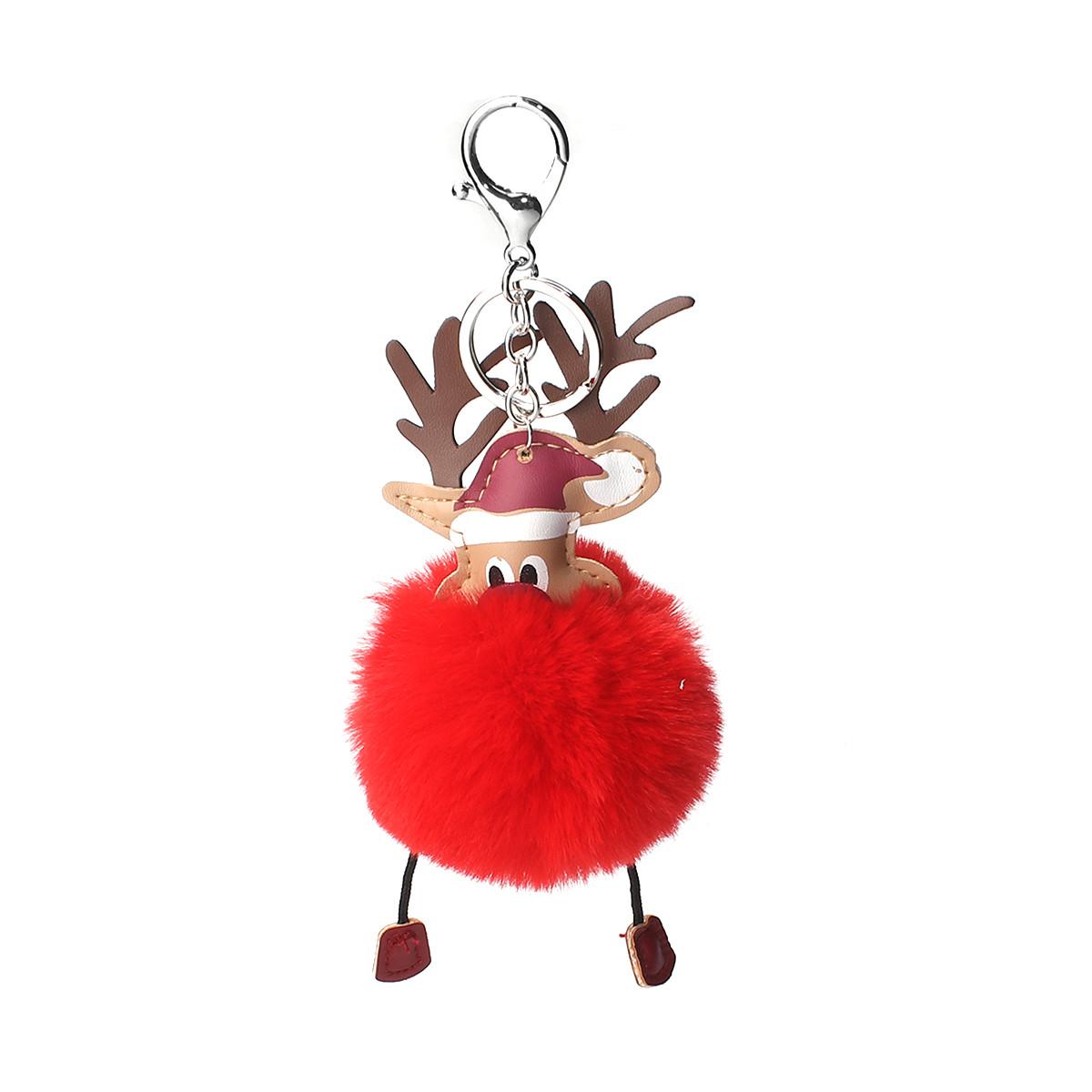 Брелок Різдвяний олень, ЕКО шкіра + Помпон, Колір: Сріблястий тон, Червоний, 19 см x 8 см