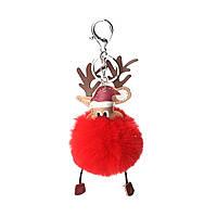 Брелок Різдвяний олень, ЕКО шкіра + Помпон, Колір: Сріблястий тон, Червоний, 19 см x 8 см, фото 1