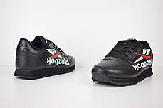 Мужские кроссовки Reebok Classic черные надпись вниз топ реплика, фото 2