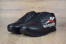 Мужские кроссовки Reebok Classic черные надпись вниз топ реплика, фото 3