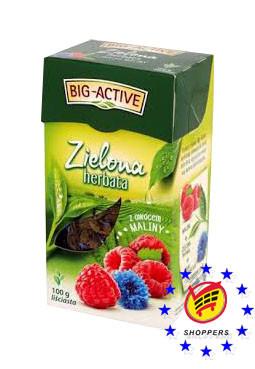 Чай big-active herbata zielona z ovocem maliny 100 г