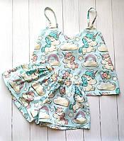 Женская хлопковая пижама с шортами в единороги