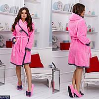 Домашний набор халатик теплый женский с тапочками 42 44 46 48 белый бежевый серый розовый