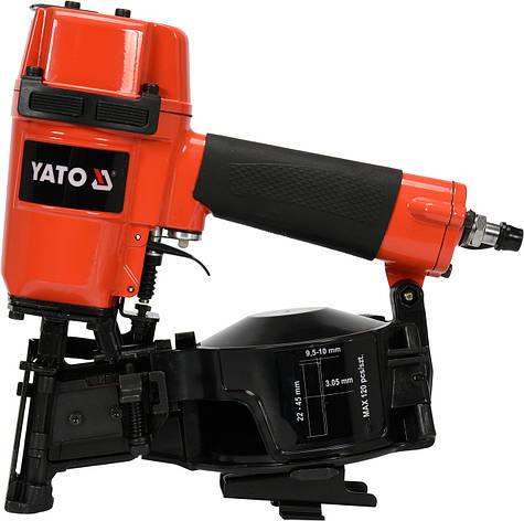 Пистолет гвоздезабивной пневматический барабанный для гвоздей 25-57х2.1-2.3мм YATO YT-09212, фото 2