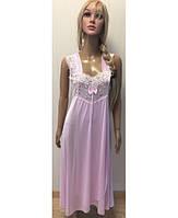 Ночная рубашка батального размера с запахом нежно-розового цвета 48-56 р