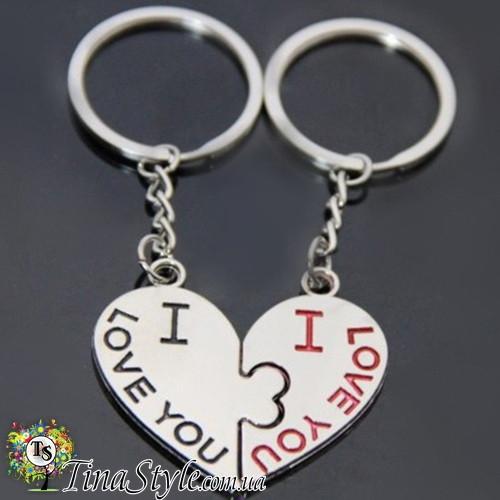 Брелок пара сердце две половинки сердца 2 вида ключик колодочка I love you  для двоих влюбленных брелки