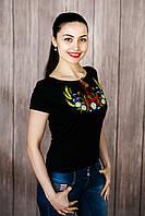 Чорна жіноча вишита футболка із зав'язками «Вінок з колосками», фото 1
