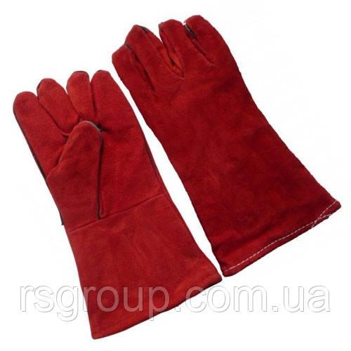 Перчатки сварочные замшевые красные (35 см)