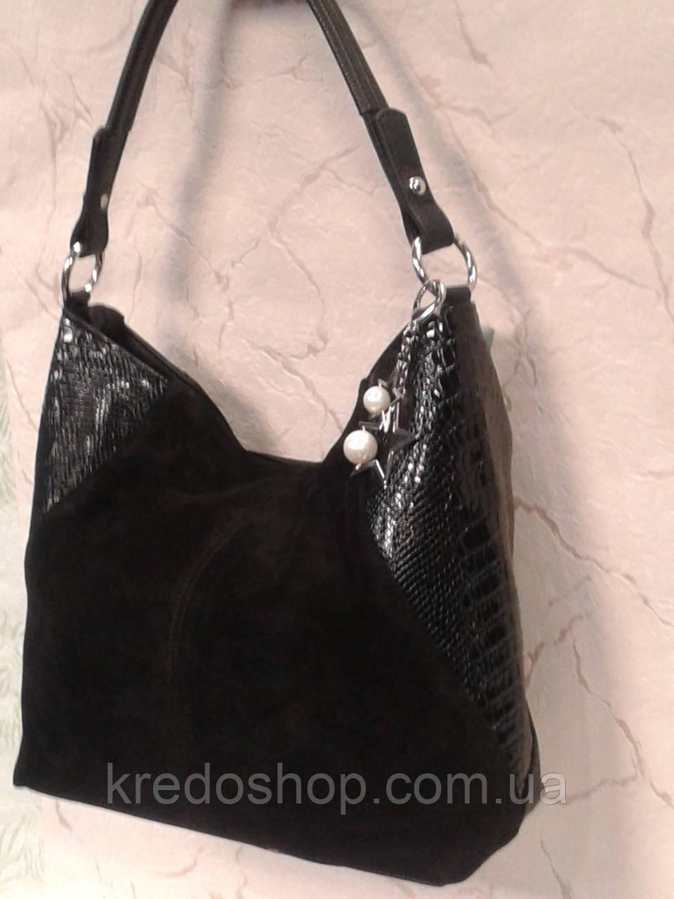 50cbf9ad26e9 Сумка замшевая женская черная модная стильная, цена 819 грн., купить Кривий  Ріг — Prom.ua (ID#869447102)