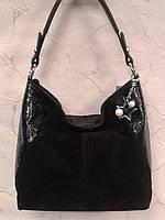 Сумка замшевая женская черная модная стильная
