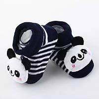 Носки-игрушки для младенцев панды не скользящие George baby S 3-6 месяцев черно-белые GS702