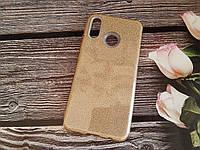 Чехол с блестками Shine для Huawei P Smart plus Золотой силикон
