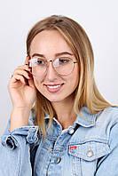 Женские очки в тонкой золотистой оправе