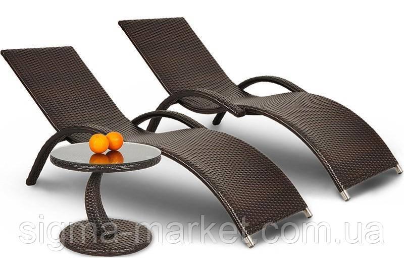 Садовий шезлонг 2 шт MARGO коричневый+стол
