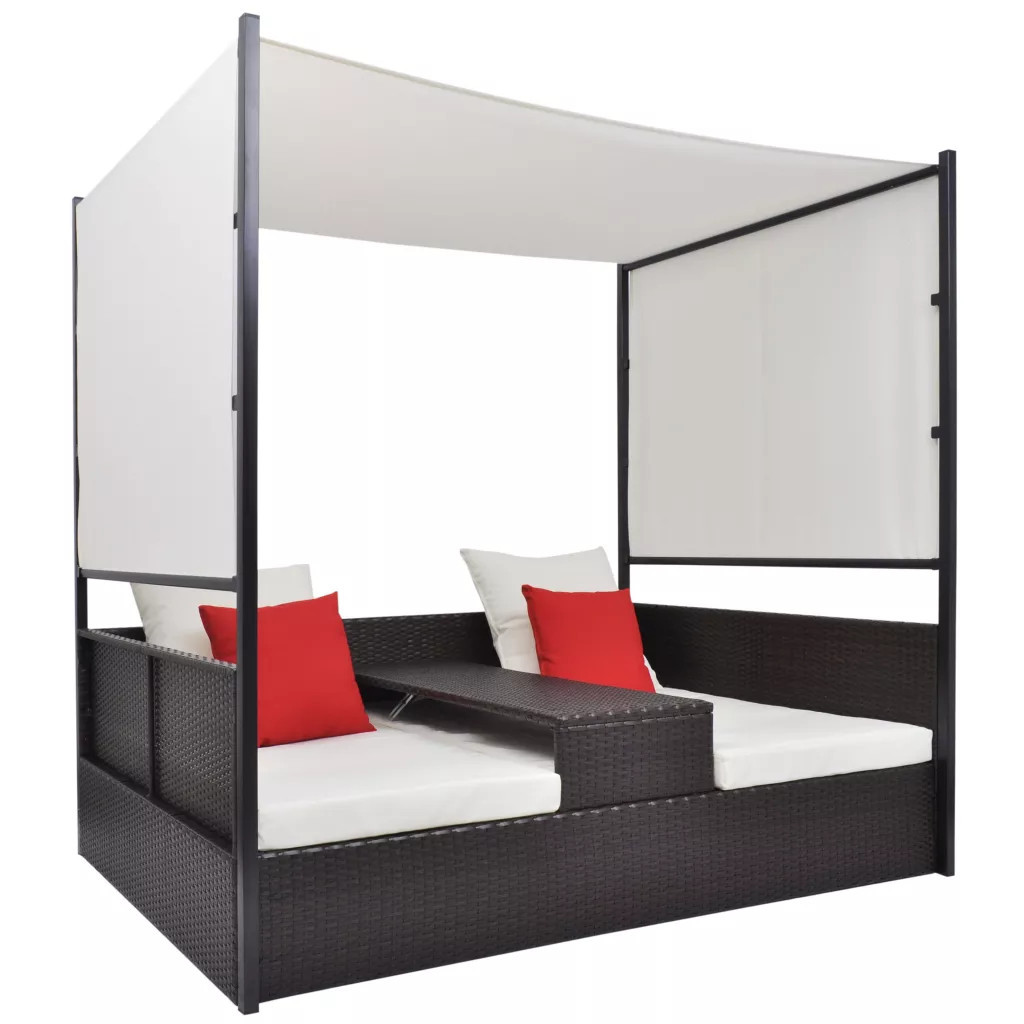 Двойной диван с навесом, полират vidaXL бронза