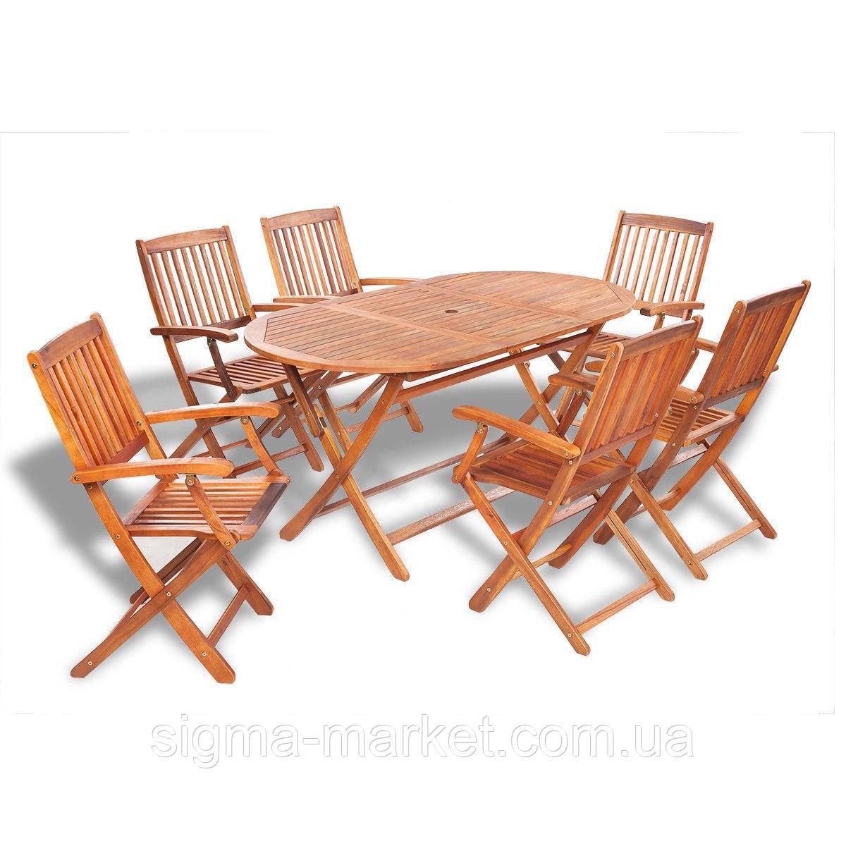 Садовая мебель ДЕРЕВЯННЫЙ складной стол + 6 стульев