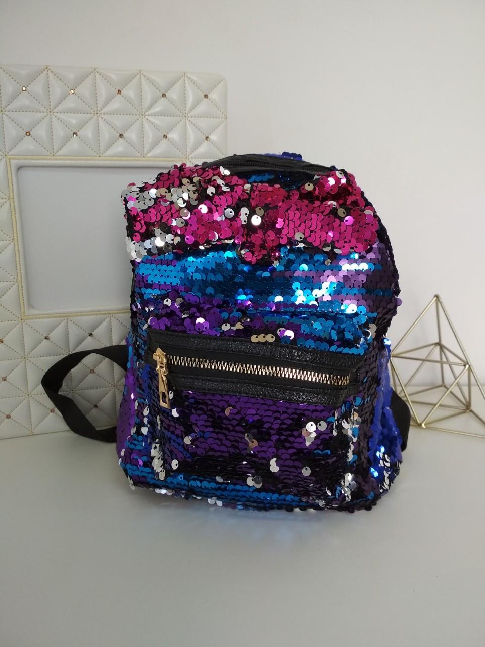 Рюкзак с пайетками для девочек 23*23*16 см