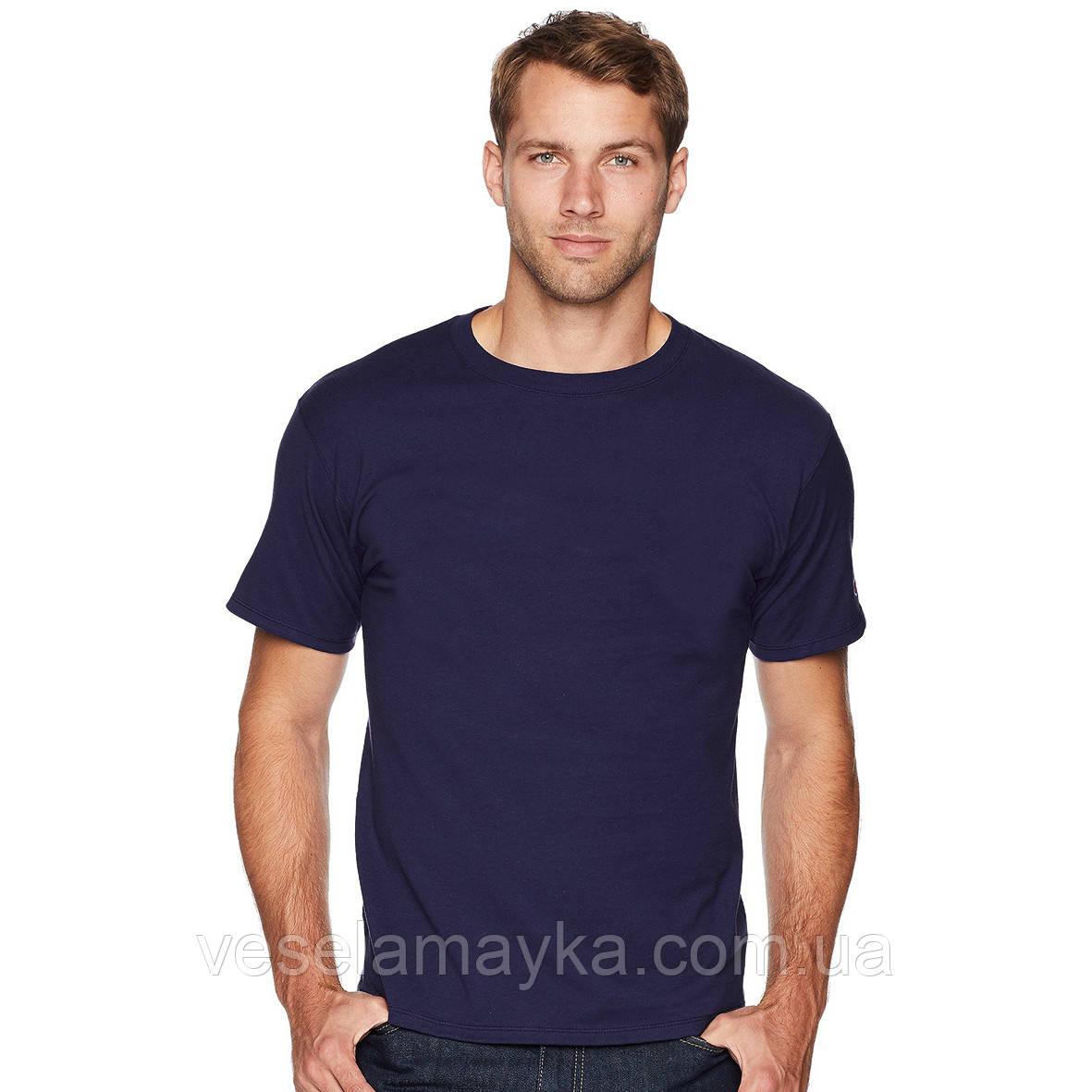 Уплотненная глубоко темно-синяя мужская футболка (Премиум)