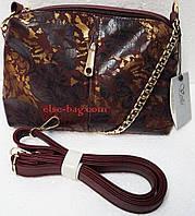 Бордовая сумка кросс-боди с натуральной кожей