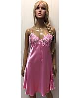 766be0fa68a1b0c Красивая ночная рубашка с кружевом на тонких бретелях розового цвета 42-46 р