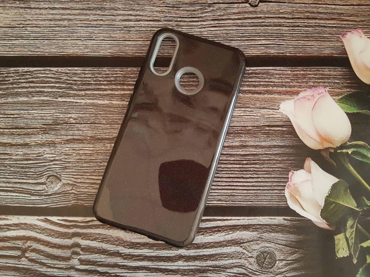 Чехол с блестками Shine для Huawei P Smart plus Черный силикон