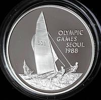 Серебряная монета Каймановых островов 5 долларов 1988 г. Олимпийские игры в Сеуле