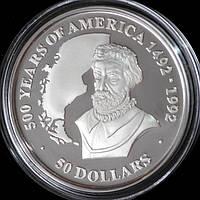Серебряная монета Островов Кука 50 долларов 1990 г. 500 лет открытия Америки. Пруф