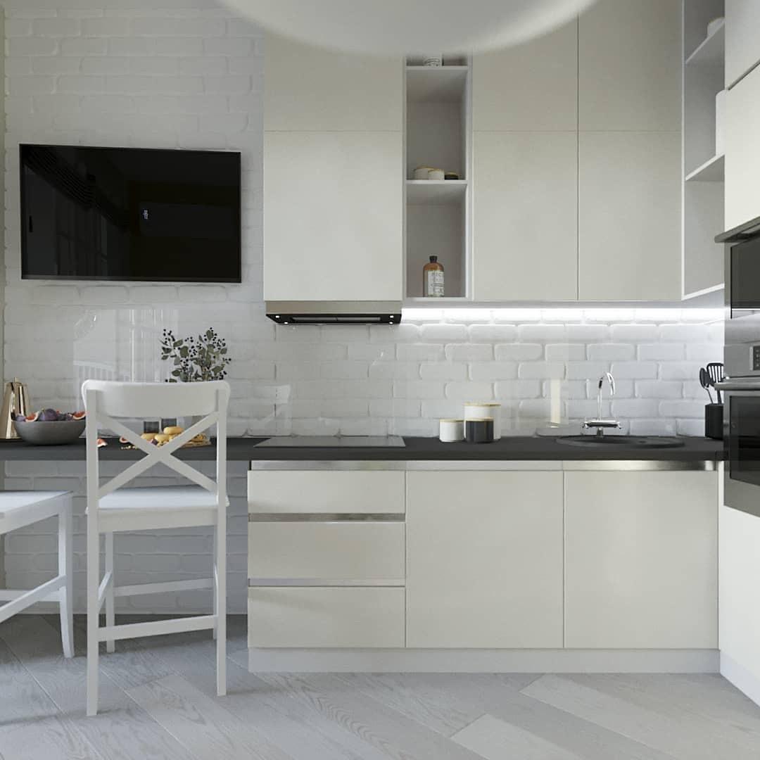 Белая кухня без ручек с профилем в стиле минимализм