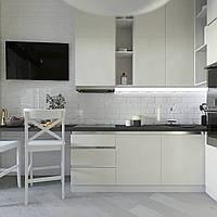 Белая кухня без ручек с профилем в стиле минимализм  , фото 1