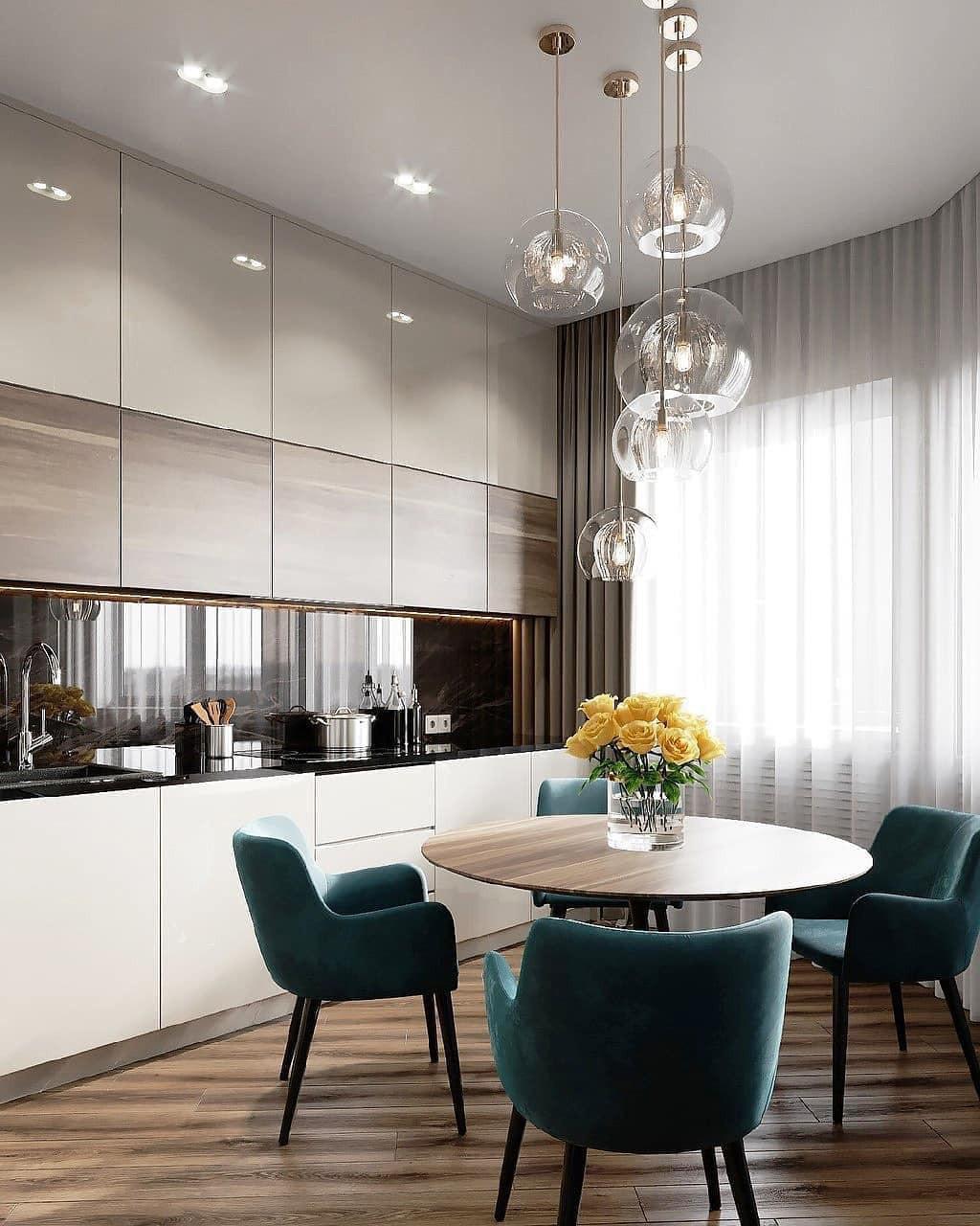 Белая кухня под потолок без ручек с шпоном ореха в стиле минимализм