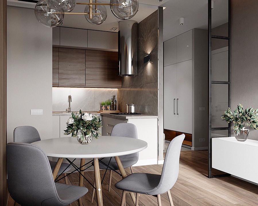 Кухня в серых тонах с элементами дерева на верхних фасадах