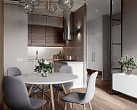 Кухня в серых тонах с элементами дерева на верхних фасадах  , фото 1