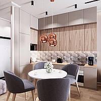 Кухня в серых тонах с элементами дерева на верхних фасадах в 2 яруса под потолок, фото 1