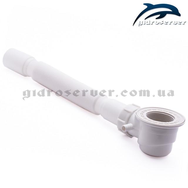 Усиленный сифон SDKU-05 с гидрозатвором и латунным донным клапаном разработан для стандартных поддонов душевых кабин, гидромассажных боксов.