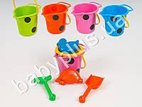 Песочный набор (ведро горошек маленькое, ситечко, лопатка, грабли и 2 пасочки. 4 цвета.)