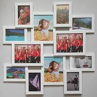 Коллаж фото 12 фото (деревянная) 70*70 см ( фоторамки рамки для фото ) ФР0003