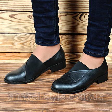 Туфли оксфорды из натуральной кожи на плоской подошве цвета никель на резинке Код 1765 AR, фото 2