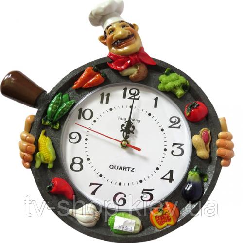 Часы настенные Фруктовая сковородка (лепка)