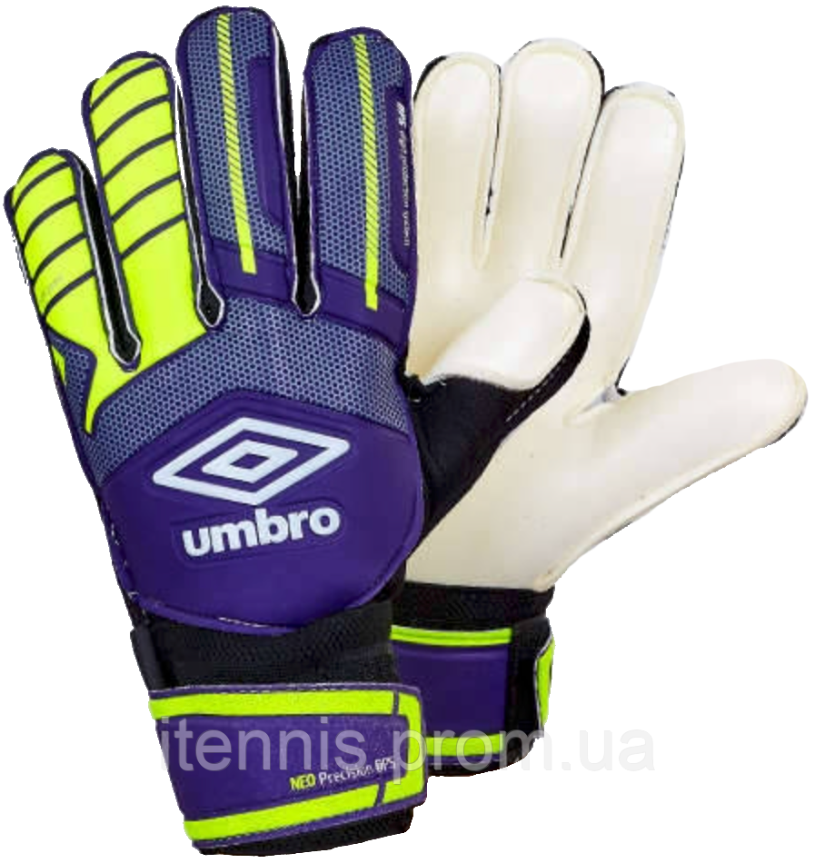 """Перчатки вратарские Umbro (p.8,9,10) """"фиолетовый-салатовый"""", фото 1"""