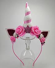 Обруч Единорог Украшение для волос розовый белый