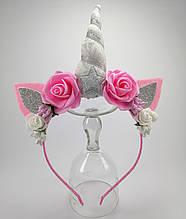 Обруч Единорог Украшение для волос розовый серебро