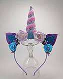 Обруч Єдиноріг Прикраса для волосся рожевий синій, фото 2