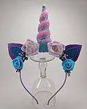 Обруч Єдиноріг Прикраса для волосся рожевий синій, фото 4