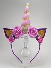 Обруч Единорог Украшение для волос розовый и фиолетовый