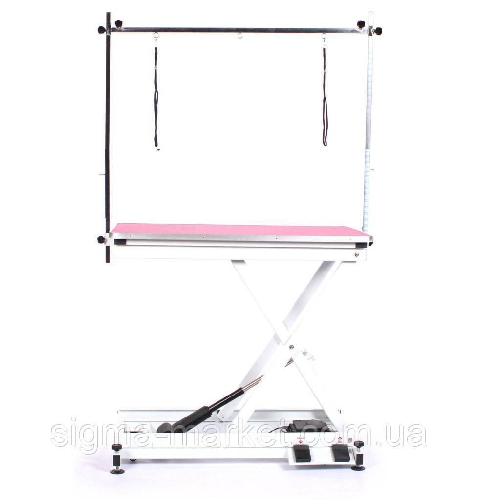 Современный тримерский стол Blovi Moon с электроподъемником, столешница розовая 110x60см