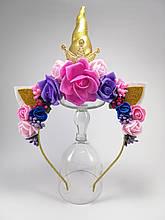 Единорог обруч для волос Золотой рог Золотая корона Розовый