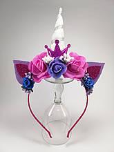 Единорог обруч для волос Серебряный рог Фиолетовая корона