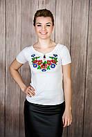 Біла жіноча вишиванка із рослинним орнаментом «Волошкове поле», фото 1